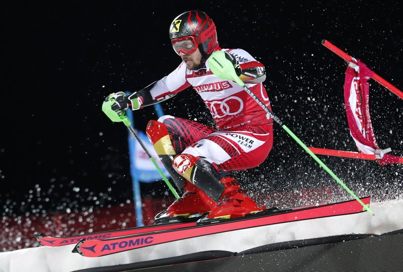 Austria's Marcel Hirscher competes during an alpine ski World Cup men's parallel slalom city event, in Hammarbybacken, Stockholm, Sweden, Tuesday, Feb. (Christine Olsson/TT via AP)