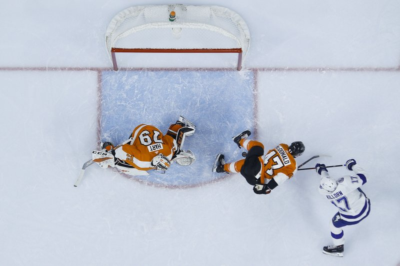 Tampa Bay Lightning's Alex Killorn (17) scores a goal past Philadelphia Flyers' Andrew MacDonald (47) and Carter Hart (79) during the first period of an NHL hockey game Tuesday, Feb. (AP Photo/Matt Slocum)