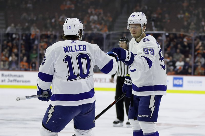 Tampa Bay Lightning's Mikhail Sergachev, right, and J.T. Miller celebrate Sergachev's goal during the first period of an NHL hockey game against the Philadelphia Flyers, Tuesday, Feb. (AP Photo/Matt Slocum)