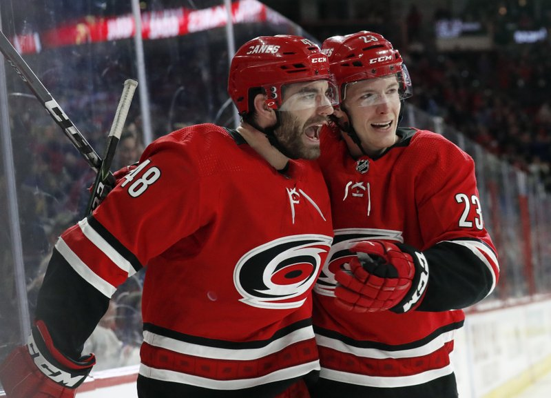 Carolina Hurricanes' Jordan Martinook (48) celebrates his goal with Brock McGinn (23) during the second period of an NHL hockey game against the New York Rangers in Raleigh, N. (AP Photo/Chris Seward)
