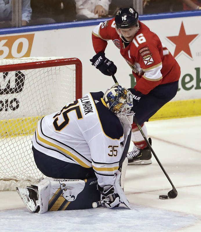 Florida Panthers center Aleksander Barkov scores against Buffalo Sabres goaltender Linus Ullmark during the third period of an NHL hockey game Tuesday, Feb. (AP Photo/Brynn Anderson)