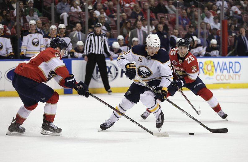 Buffalo Sabres defenseman Jake McCabe, center, skates between Florida Panthers center Frank Vatrano, left, and center Derick Brassard during the second period of an NHL hockey game Tuesday, Feb. (AP Photo/Brynn Anderson)