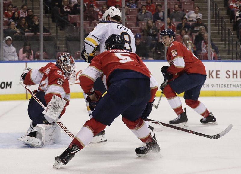 Buffalo Sabres center Jack Eichel scores against Florida Panthers goaltender James Reimer during the second period of an NHL hockey game Tuesday, Feb. (AP Photo/Brynn Anderson)