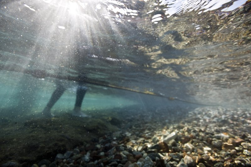 In this Monday, Feb. 11, 2019 photo, Maoz Fine, coral reef expert at Bar-Ilan University in Israel comes out of the water after a research dive in the Red Sea city of Eilat, southern Israel. (AP Photo/Ariel Schalit)
