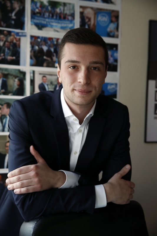 Head of Marine Le Pen's party list for the European Parliament elections, Jordan Bardella poses after an interview with Associated Press in Nanterre, outside Paris, Wednesday, Feb. (AP Photo/Christophe Ena)