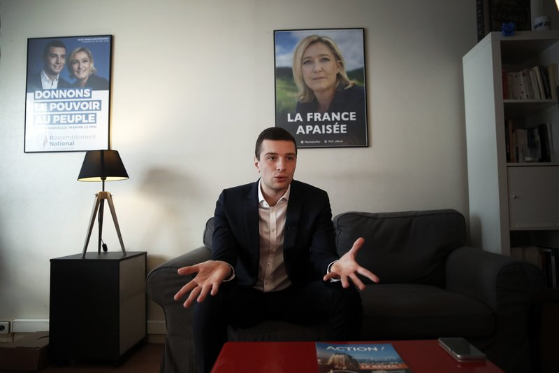 Head of Marine Le Pen's party list for the European Parliament elections, Jordan Bardella speaks during an interview with Associated Press in Nanterre, outside Paris, Wednesday, Feb. (AP Photo/Christophe Ena)