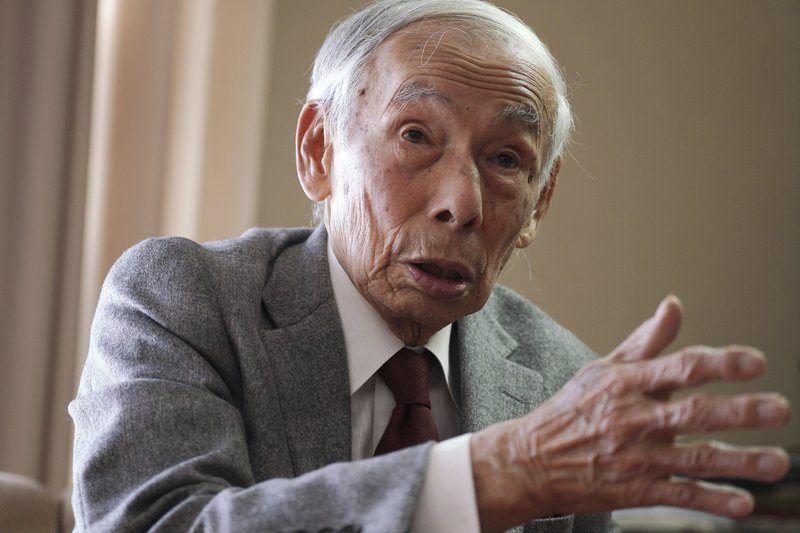 In this Feb. 3, 2019, photo, Kazuo Oda, a retired trading house executive and longtime tennis friend of Emperor Akihito, speaks during an exclusive interview with the Associated Press in Tokyo. (AP Photo/Eugene Hoshiko)