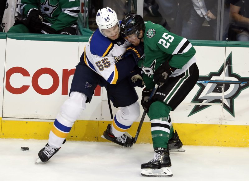 St. Louis Blues defenseman Colton Parayko (55) and Dallas Stars right wing Brett Ritchie (25) work to gain control of the puck in the first period of an NHL hockey game in Dallas, Thursday, Feb. (AP Photo/Tony Gutierrez)