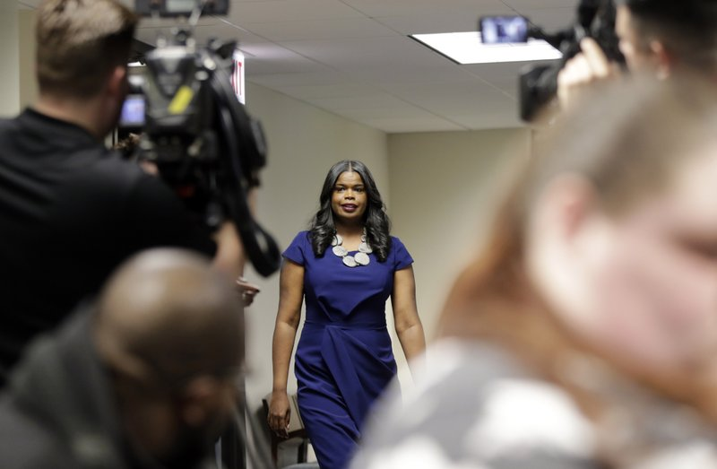 Cook County State's Attorney Kim Foxx arrives at a news conference, Friday, Feb. 22, 2019, in Chicago. (AP Photo/Kiichiro Sato)
