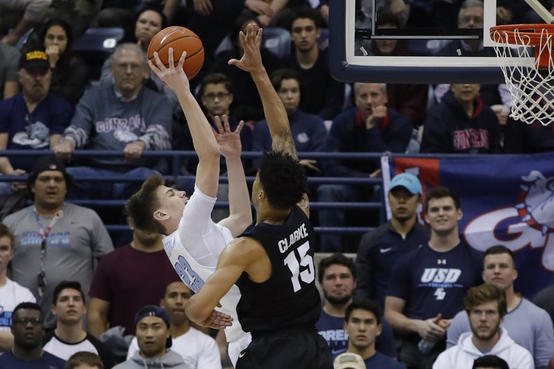San Diego guard Finn Sullivan, left, shoots as Gonzaga forward Brandon Clarke defends during the first half of an NCAA college basketball game Saturday, Feb. (AP Photo/Gregory Bull)
