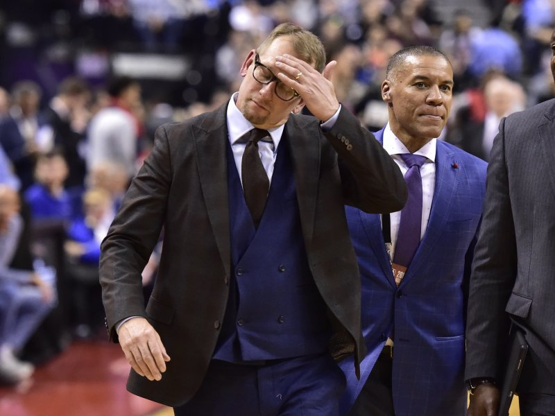 Toronto Raptors coach Nick Nurse walks off the court after being ejected during the second half of the team's NBA basketball game against the San Antonio Spurs on Friday, Feb. (Frank Gunn/The Canadian Press via AP)