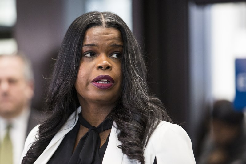 Cook County State's Attorney Kim Foxx speaks to reporters at the Leighton Criminal Courthouse after R. (Ashlee Rezin/Chicago Sun-Times via AP)