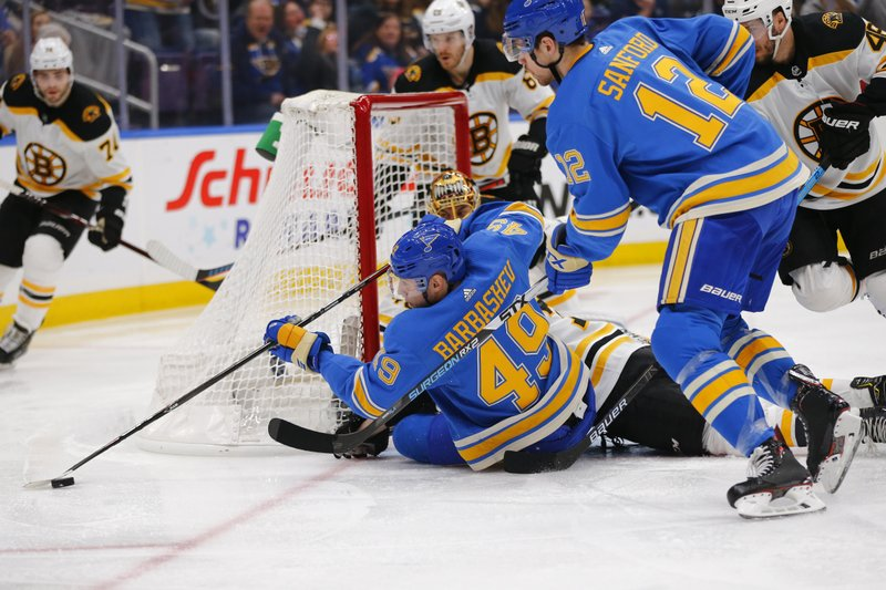 St. Louis Blues' Ivan Barbashev (49), of Russia, attempts to pass the puck after a shot on goal against the Boston Bruins during the second period of an NHL hockey game Saturday, Feb. (AP Photo/Dilip Vishwanat)