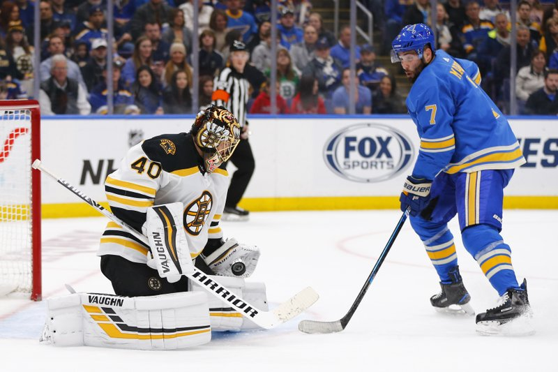 Boston Bruins goalie Tuukka Rask, left, of Finland, makes a save against St. Louis Blues' Patrick Maroon during the second period of an NHL hockey game Saturday, Feb. (AP Photo/Dilip Vishwanat)