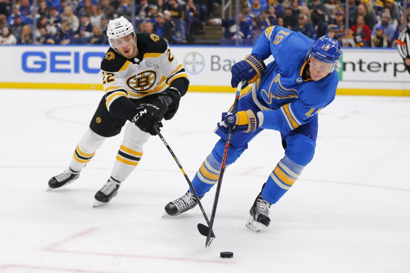 St. Louis Blues' Jay Bouwmeester (19) looks to clear the puck against Boston Bruins' Peter Cehlarik (22), of Slovakia, during the first period of an NHL hockey game Saturday, Feb. (AP Photo/Dilip Vishwanat)