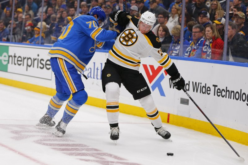 Boston Bruins' Charlie Coyle (13) alludes a check from St. Louis Blues' Oskar Sundqvist (70), of Sweden, during the first period of an NHL hockey game Saturday, Feb. (AP Photo/Dilip Vishwanat)