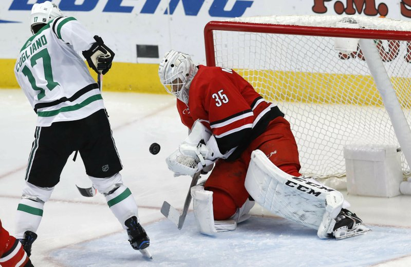 Carolina Hurricanes goaltender Curtis McElhinney (35) defends the goal against Dallas Stars center Andrew Cogliano (17) during the second period of an NHL hockey game in Dallas, Saturday, Feb. (AP Photo/LM Otero)