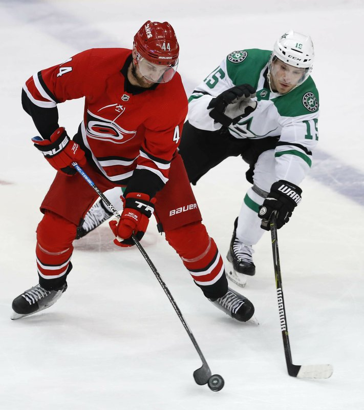 Carolina Hurricanes defenseman Calvin de Haan (44) controls the puck next to Dallas Stars left wing Blake Comeau (15) during the third period of an NHL hockey game in Dallas, Saturday, Feb. (AP Photo/LM Otero)