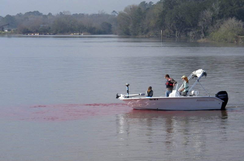In this Feb. 21, 2019 photo, Army Corps of Engineers scientists drift in a boat toward a plume of red dye in the Savannah River, Ga. (AP Photo/Russ Bynum)