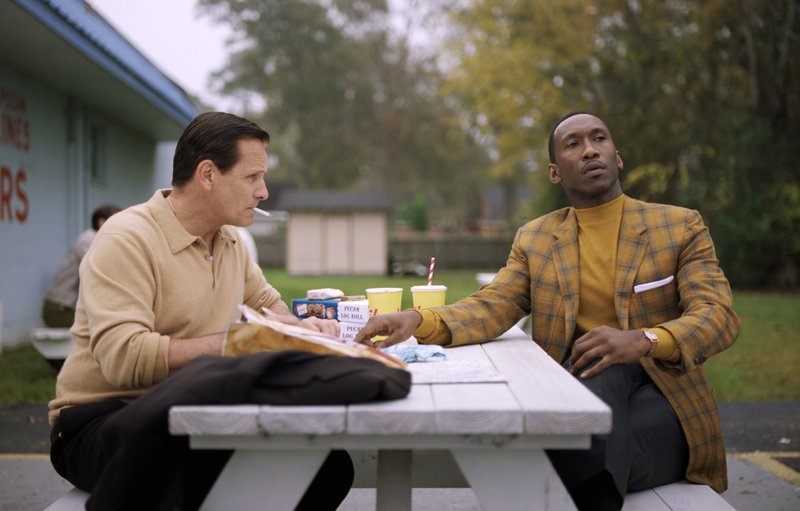This image released by Universal Pictures shows Viggo Mortensen, left, and Mahershala Ali in a scene from