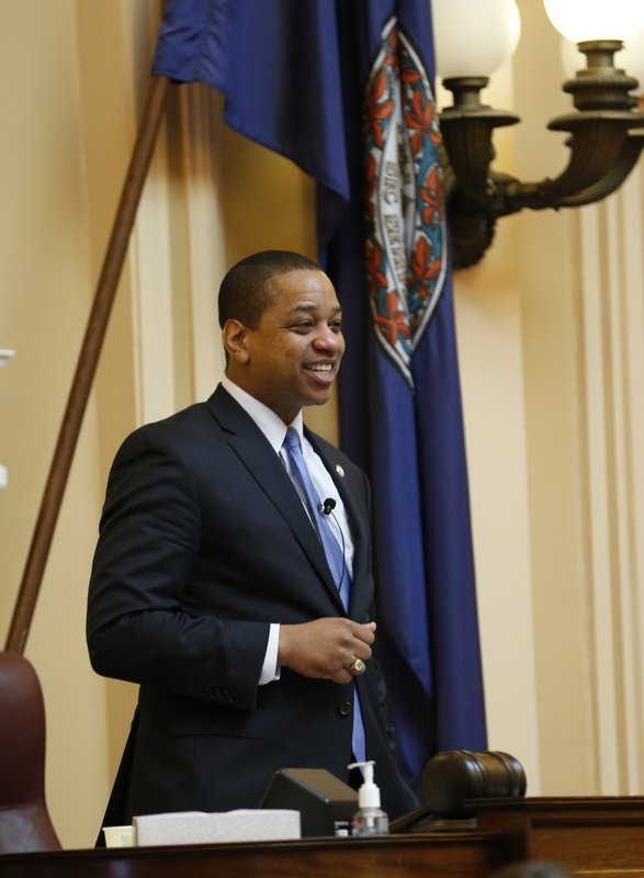 Virginia Lt. Gov. Justin Fairfax presides over the end of the 2019 Senate session at the Capitol in Richmond, Va. (AP Photo/Steve Helber)