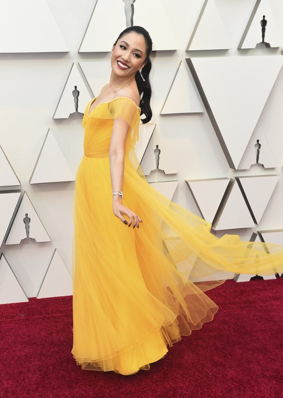 Constance Wu arrives at the Oscars on Sunday, Feb. 24, 2019, at the Dolby Theatre in Los Angeles. (Photo by Jordan Strauss/Invision/AP)