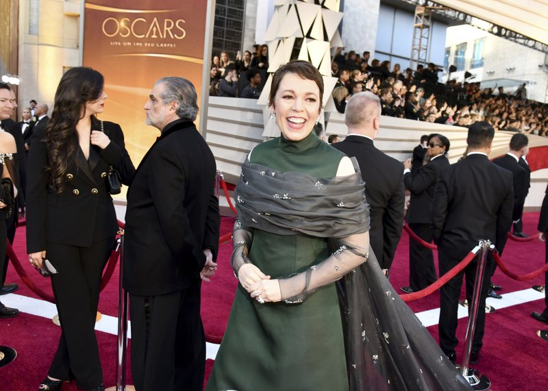 Olivia Colman arrives at the Oscars on Sunday, Feb. 24, 2019, at the Dolby Theatre in Los Angeles. (Photo by Charles Sykes/Invision/AP)