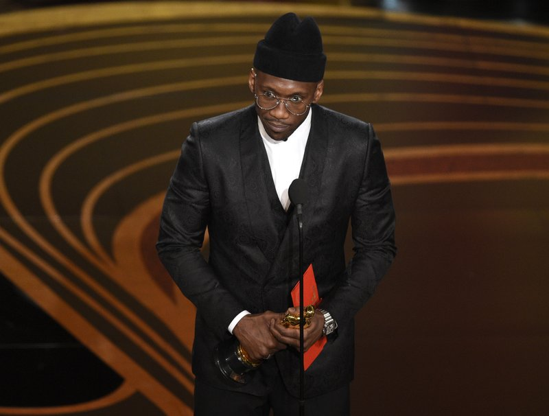 Mahershala Ali accepts the award for best performance by an actor in a supporting role for