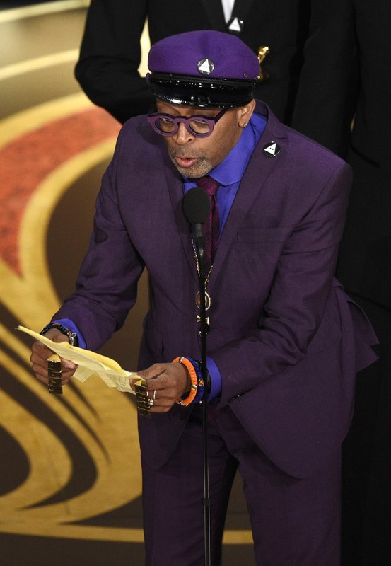 Spike Lee accepts the award for best adapted screenplay for