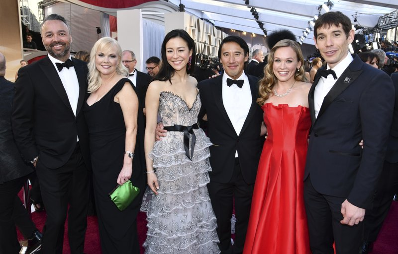 Evan Hayes, from left, Shannon Dill, Elizabeth Chai Vasarhelyi, Jimmy Chin, Sanni McCandless and Alex Honnold, from the cast and crew of
