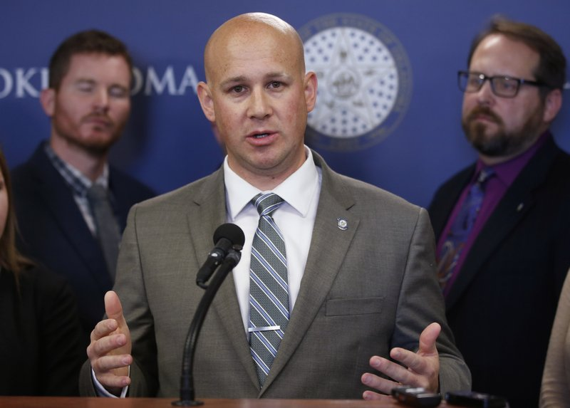 Oklahoma state Senator Joseph Silk, R-Broken Bow speaks during a news conference Monday, Feb. 25, 2019, in Oklahoma City. (AP Photo/Sue Ogrocki)
