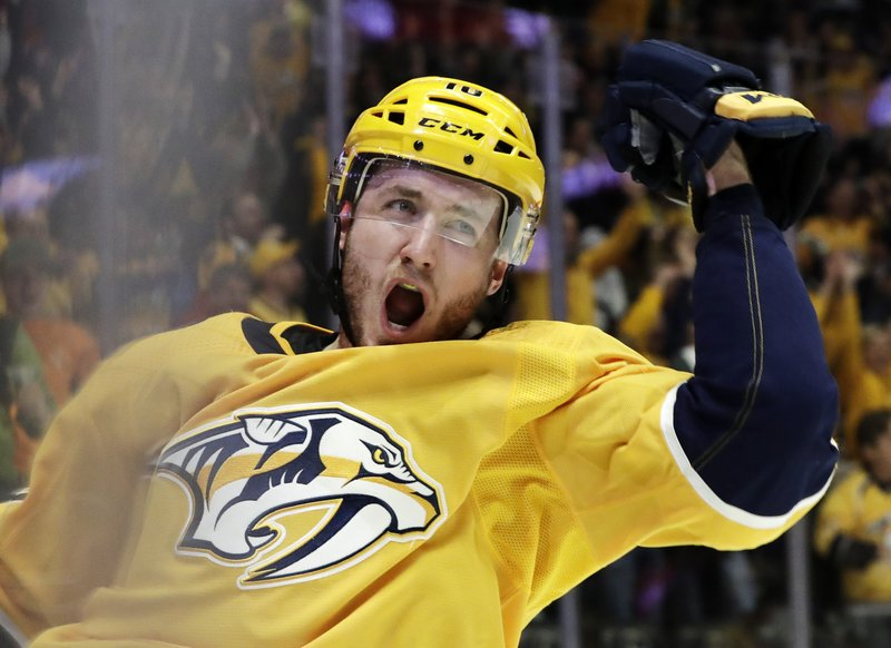 Nashville Predators center Colton Sissons celebrates after scoring a goal against the Edmonton Oilers in the second period of an NHL hockey game Monday, Feb. (AP Photo/Mark Humphrey)