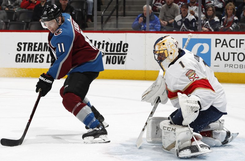 Colorado Avalanche left wing Matt Calvert, left, directs a shot at Florida Panthers goaltender Roberto Luongo in the first period of an NHL hockey game Monday, Feb. (AP Photo/David Zalubowski)