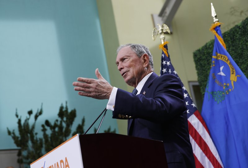 2020 Democratic presidential candidate Michael Bloomberg speaks at a news conference at a gun control advocacy event, Tuesday, Feb. (AP Photo/John Locher)