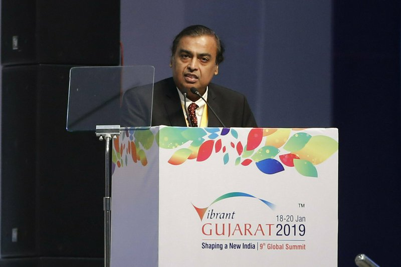 FILE - In this Jan. 18, 2019, file photo, Chairman and Managing Director of Reliance Industries Mukesh Ambani speaks during the inauguration of the 9th Vibrant Gujarat Global Summit (VGGS) in Gandhinagar, India. (AP Photo/Ajit Solanki, File)