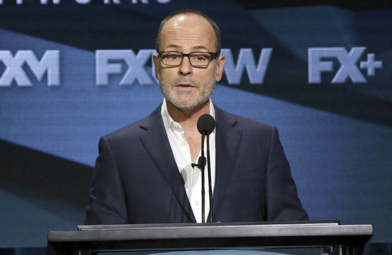 FILE - In this Aug. 3, 2018 file photo, John Landgraf, CEO, FX Networks and FX Productions, participates in the executive panel during the FX Television Critics Association Summer Press Tour in Beverly Hills, Calif. (Photo by Willy Sanjuan/Invision/AP, File)