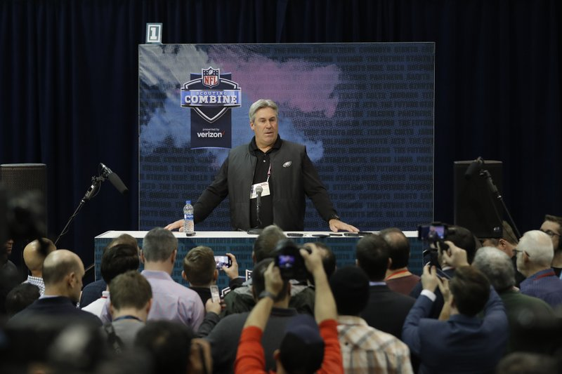 Philadelphia Eagles head coach Doug Pederson speaks during a press conference at the NFL football scouting combine, Wednesday, Feb. (AP Photo/Darron Cummings)
