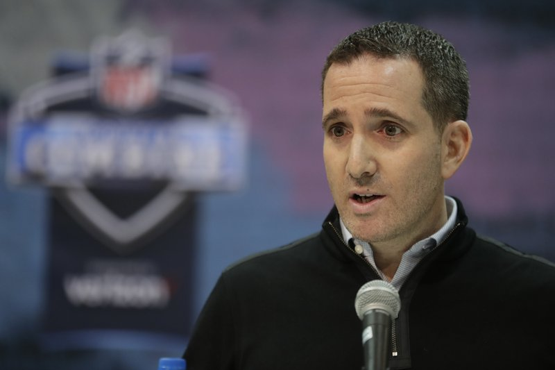 Philadelphia Eagles executive vice president of football operations Howie Roseman speaks during a press conference at the NFL football scouting combine in Indianapolis, Wednesday, Feb. (AP Photo/Michael Conroy)