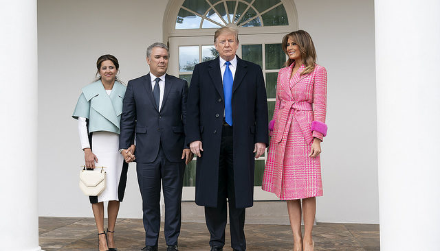 President Donald J. Trump and First Lady Melania Trump pose with Colombian President Iván Duque Márquez and his wife Mrs. Maria Juliana Ruiz Sandoval along the West Wing Colonnade Wednesday, Feb. 13, 2019, at the White House. (Official White House Photo by Andrea Hanks)