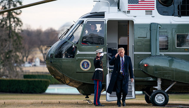President Donald J. trump disembarks Marine One on the South Lawn of the White House Friday, Feb. 8, 2019, following his visit to Walter Reed National Military Medical Center in Bethesda, Md.(Official White House Photo by Tia Dufour)