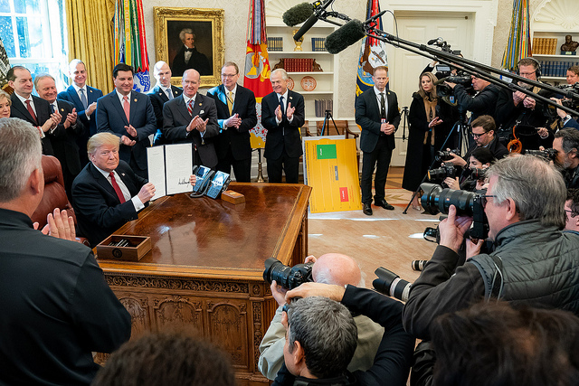 President Donald J. Trump meets with American Manufactures and signs an executive order to strengthen buy America preferences Thursday, Jan. 31, 2019, in the Oval Office of the White House. (Official White House Photo by Tia Dufour)