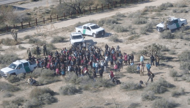 A large group of 325 Central Americans were apprehended by USBP agents near Lukeville Thursday. (Photo: U.S. Border Patrol/Tucson Sector)