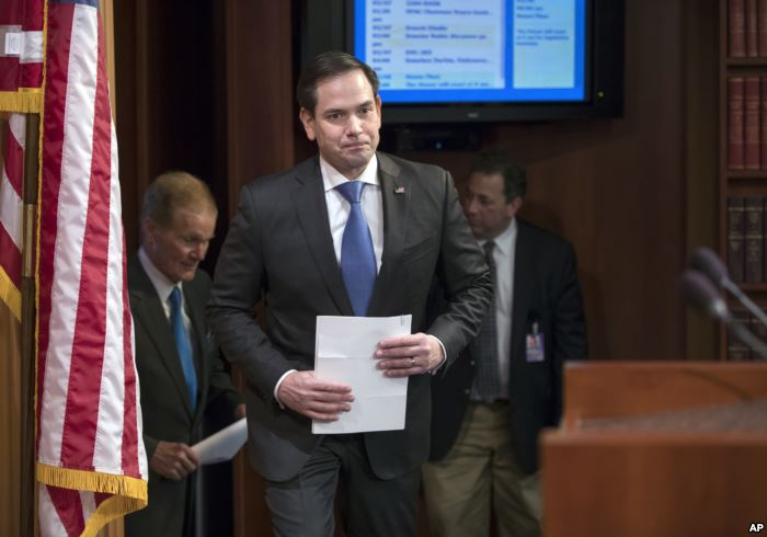 FILE - Sen. Marco Rubio (Republican-Florida) arrives for a news conference at