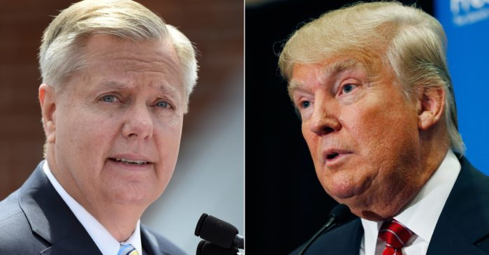 Sen. Lindsey Graham and President Donald Trump. (AP Photo/Rainier Ehrhardt, John Locher)