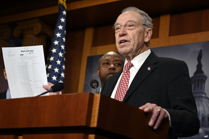 Sen. Chuck Grassley, R-Iowa, speaks during a news conference on Capitol Hill.