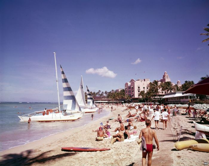 Waikiki beach, Hawaii, in July 1961. Post WWII settlement and tourism led to