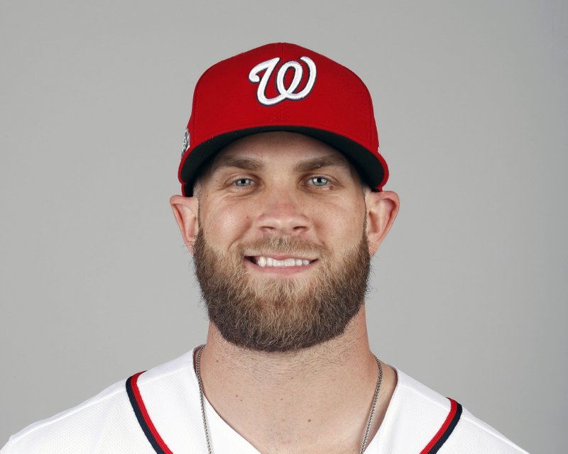 FILE - In this Feb. 22, 2018, file photo, Bryce Harper of the Washington Nationals baseball team poses in West Palm Beach, Fla. (AP Photo/Jeff Roberson, File)