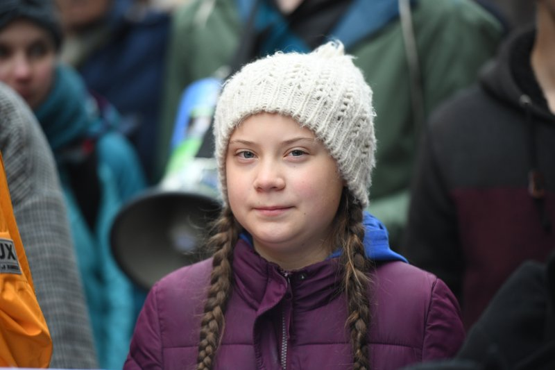 Swedish climate activist Greta Thunberg attends a protest rally in Hamburg, Germany, Friday, March 1, 2019. (Daniel Reinhardt/dpa via AP)