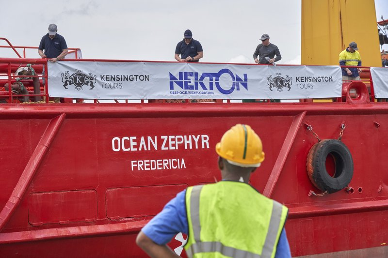 The research vessel Ocean Zephyr docked in Victoria, the Seychelles, on Friday March 1, 2019, where it will load and test equipment ahead of a weeks-long expedition to explore the depths of the Indian Ocean. (AP Photo/Steve Barker)