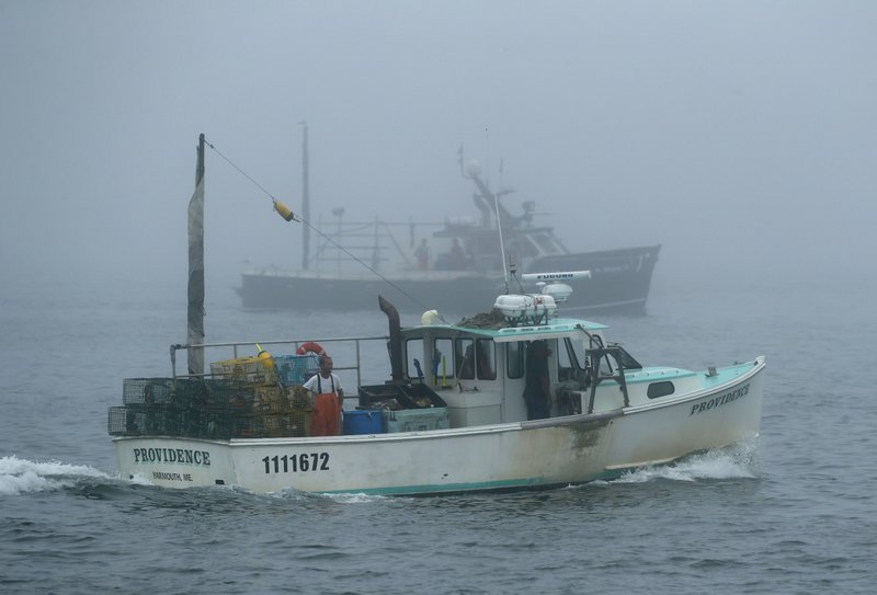 FILE-In this July 25, 2018 file photo, lobster boats head out to sea off of South Portland, Maine.  Maine officials say lobstermen brought more than 119 million pounds (54 million kilograms) of the state's signature seafood ashore in 2018, with the second-highest value on record. (AP Photo/Robert F. Bukaty, FILE)